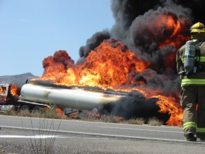 a tanker on fire