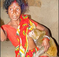 Namita with her pet monkey