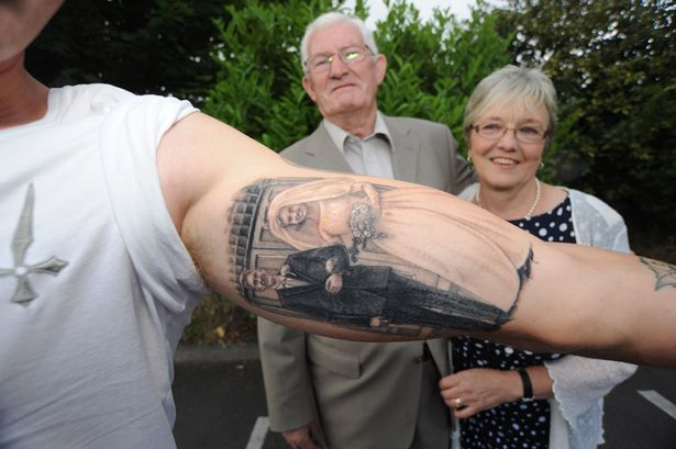 Grandson gets tattoo of grandparents 39 wedding photo on his for That s my boy tattoo