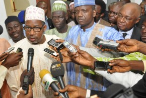 MINISTER OF FCT, SEN. BALA MOHAMMED; CHIEF OF STAFF TO FEDERAL CAPITAL AUTHORITY, MUHAMMED YAU'GITAL AND CHAIRMAN, HOUSE COMMITTEE ON SECURITY AND INTELLIGENCE, MOHAMMED MUTTAWALE, SPEAKING TO NEWSMEN AFTER AN INVESTIGATIVE MEETING ON THE APO RECENT KILLING IN ABUJA ON THURSDAY