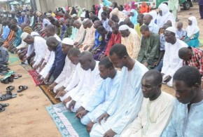 A CROSS-SECTION OF MUSLIMS PRAYING AT THE OBALENDE PRAYING GROUND DURING EID-EL-KABIR CELEBRATION IN LAGOS ON TUESDAY