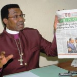 CAN VICE CHAIRMAN, SOUTH-EAST, BISHOP EMMANUEL CHUKWUMA ADDRESSING A NEWS CONFERENCE IN ENUGU ON MONDAY (20/01/14)