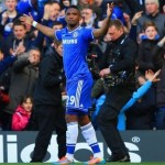 Eto'O Celebrates His Opener Against Arsenal, But Suffered a Seemingly Hamstring Ping Moments Later.