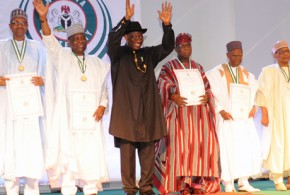 FROM LEFT: FORMER HEADS OF STATE, GEN. ABDULSALAMI ABUBAKAR; GEN. MUHAMADU BUHARI; GEN. YAKUBU GOWON; PRESIDENT GOODLUCK JONATHAN; FORMER PRESIDENTS OLUSEGUN OBASANJO; ALHAJI SHEHU SHAGARI; FORMER MILITARY PRESIDENT, GEN. IBRAHIM BABANGIDA AND FORMER HEAD OF INTERIM NATIONAL GOVERNMENT, CHIEF ERNEST SHONEKAN, AFTER RECEIVING THEIR CENTENARY AWARDS FROM PRESIDENT JONATHAN IN ABUJA ON FRIDAY (28/2/14)