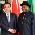 PRESIDENT GOODLUCK JONATHAN (R), WELCOMING THE VISITING CHINESE PRIME MINISTER, LI KEQIANG IN ABUJA ON WEDNESDAY (7/5/14).