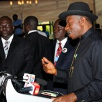 PRESIDENT GOOLUCK JONATHAN, ADDRESSING JOURNALISTS AFTER THE WORLD ECONOMIC FORUM ON AFRICA IN ABUJA ON FRIDAY (9/5/14).