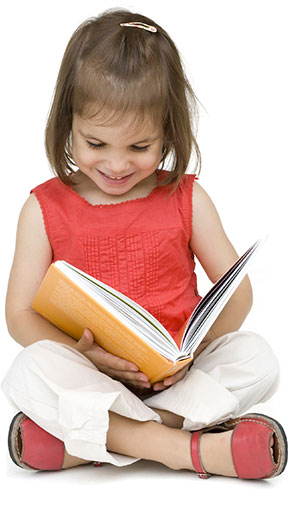 Child reading clipart free