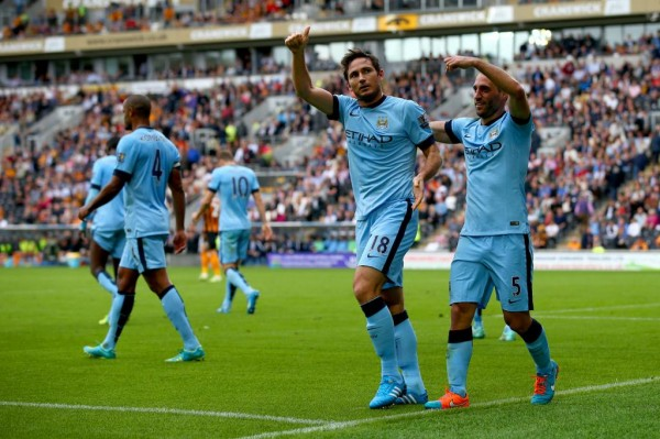 Frank Lampard Celebrates His Second Goal for Manchester City in the 2014-15 EPL Season. Image: Getty.