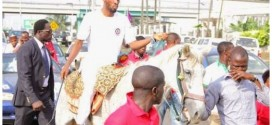 Pics: 9ice rides horse to APC secretariat to submit nomination form