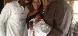 Chris Attoh and Damilola Adegbite Share Photos From Child Christening