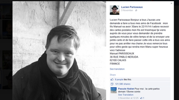 A French Woman Went On Facebook And Sought Birthday Cards For Her 30 Year Old Son Suffering From Downs Syndrome The Post Viral Man Received