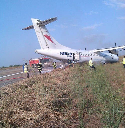 63 Escape Death As Overland Aircraft Veers Off Runway At