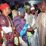 PRESIDENT GOODLUCK JONATHAN (R), BEING RECEIVED BY TRADITIONAL RULERS AT THE OONI OF IFE'S PALACE DURING HIS RECENT VISIT TO ILE-IFE