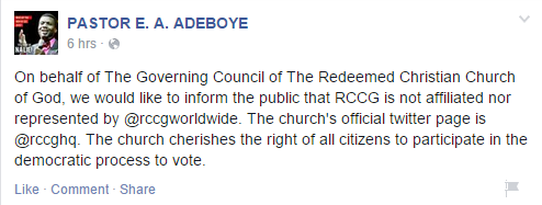 Official RCCG Page Denies Celebrating Osinbajo As Parody Twitter Account CSaid They Did