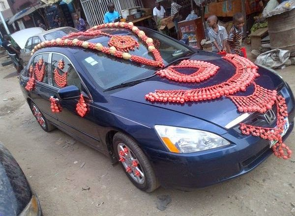 Photos wedding car decorated with traditional beads information photos wedding car decorated with traditional beads junglespirit Choice Image