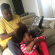Adorable Photo Of Kunle Afolayan Braiding His Daughter's Hair