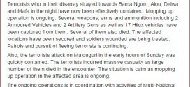 Nigeria Military releases statement on today's attack in Maiduguri