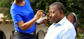 Check Out President Jonathan Getting Makeup Done