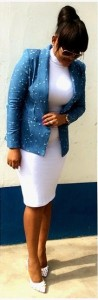 Mercy Aigbe in white and blue after cut