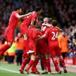 JOrdan Henderson and Team_Mates Celebrates their Skipper's Goal Against Man City at Anfield. Image: Getty.