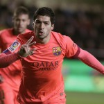 Luis Suarez Celebrates after Scoring Barca's Second against Villarreal. Image: GETTY.