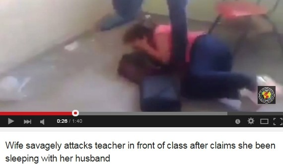 Woman Beats Teacher In Front Of Students For Allegedly Cheating With Her Husband