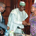 SURVEYOR-GENERAL OF THE FEDERATION, PROF. PETER NWILO (L), DIRECTOR-GENERAL, NATIONAL BOUNDARY COMMISSION, DR. MUHAMMAD AHMAD (M) AND LAGOS DEPUTY GOVERNOR, ADEJOKE ORELOPE-ADEFULIRE, DURING A JOINT MEETING