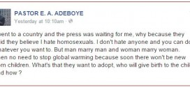 Pastor Adeboye Shares His Thoughts On Homosexuality…READ!!!