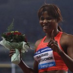 Blessing Okagbare-Igho Celebrates after Winning the 100m at the Shanghai Diamond League Meet on 17 May. Image: Reuters.