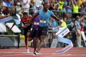 Justin Gatlin Celebrates after Winning the Men's 200m in Meet Record Time at the USA Trials. Image: Getty.