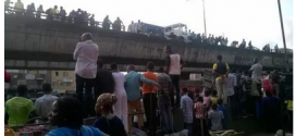 JUST IN: Trailer Skids Off Ojuelegba Bridge, Many Feared Dead | Photos