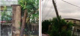 Falling pole in Harmony Estate, Ifako Gbagada (photos)
