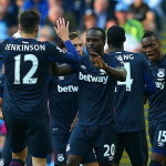 Victor Moses Celebrates With West Ham Team-Mates His First League Goal for the London Club. Image: Getty.