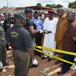 THE PRESIDENT'S DELEGATION COMPRISING CHIEF OF STAFF ABBA KYARI, SECRETARY TO THE GOVERNMENT OF THE FEDERATION BABACHIR DAVID LAWAL, FCT POLICE COMMISSIONER WILSON INALEGWU AND OTHERS VISIT THE SCENES OF THE BOMB BLAST AND HOSPITALS WHERE THE INJURED ARE BEING TREATED.