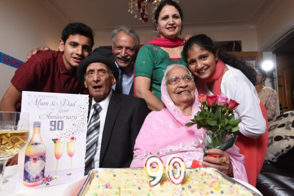 Karam (left) and Kartari Chand (seated), aged 110 and 103 respectively, celebrate their 90th wedding anniversary with their family at home in Bradford. From left: Grandson Mandeep Chand, son Paul Chand and his wife Rani and granddaughter Manpreet Chand. Mr and Mrs Chand were married in India at a Sikh ceremony on December 11 in 1925, when the country was under British rule. WORDS BY GUZELIAN The worldís oldest living married couple have reached yet another millstone as they celebrate their 90th wedding anniversary today (DECEMBER 11). Karam and Katari Chand, from Bradford, West Yorkshire, have spent almost their entire lives together as their love for each grew stronger every year. Mr and Mrs Chand were married in India at a Sikh ceremony on December 11 in 1925, when the country was under British rule. They took the title of oldest married couple when they celebrated their 88th wedding anniversary and were looking to reach 90-year mark ever since.