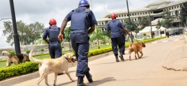 PIC. 15. MEMBERS OF NIGERIA SECURITY AND CIVIL DEFENCE CORPS ON PATROL AT THE UN HOUSE  IN   ABUJA ON MONDAY (29/8/11)