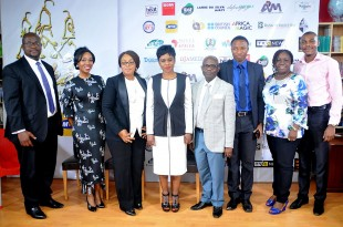 Bolanle Austen-Peters, Director of Wakaa the Musical flanked by Partners and sponsors of Wakaa The  Musical goes to London, at the Press conference