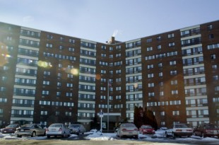 """Salem, MA--1/18/2005--GLOBE STAFF PHOTO/JIM DAVIS:An alleged prostitution """"training center"""" was being run out of a seventh floor apartment in this public housing building called """"Loring Towers"""". Two men are under arrest and charged with operating it.    Library Tag 01192005 Metro"""