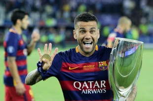 Dani Alves won three UCL titles with Barcelona