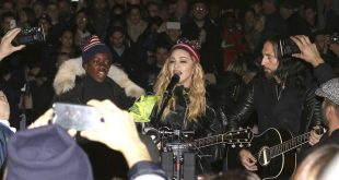 Singer Madonna, right, and her son David Banda perform in support of Democratic presidential candidate Hillary Clinton at Washington Square Park on Monday, Nov. 7, 2016, in New York. (Photo by Greg Allen/Invision/AP)