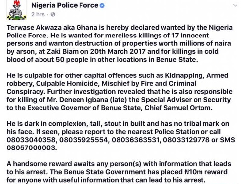 Nigerian Police Places N10m Bounty on the Head of Notorious Serial
