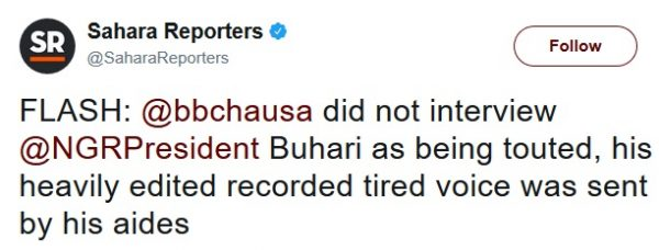 BBC Hausa Didn't Interview Buhari, Edited Recorded Voice was Sent By