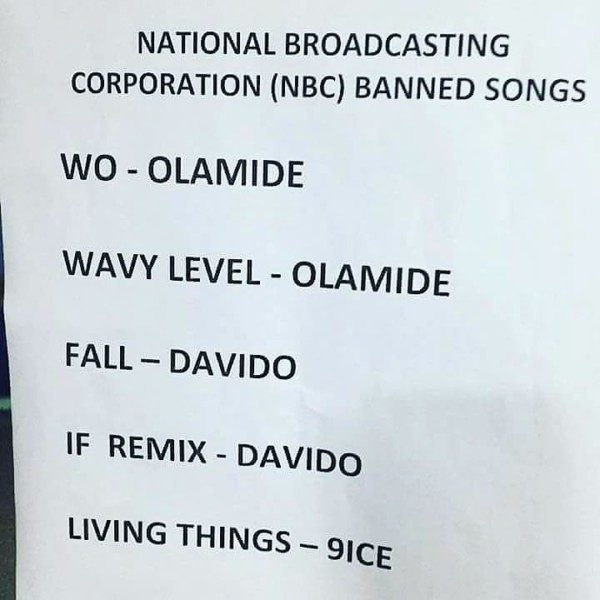 Moral decadence: NBC bans five songs from airwaves