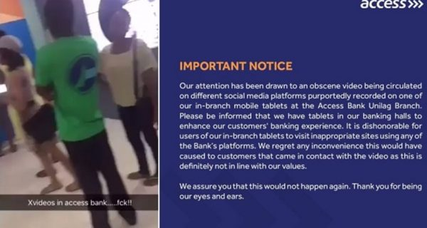 Finally Access Bank Reacts To The Adult Movie That Appeared On A Screen At Its Unilag Branch