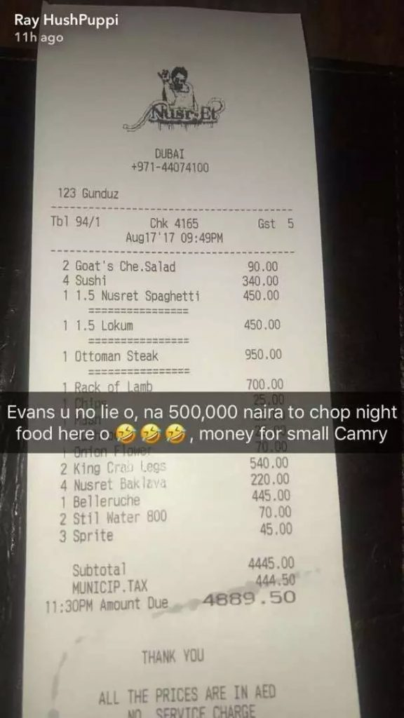 hushpuppi spends almost n500k on one meal in dubai  photos