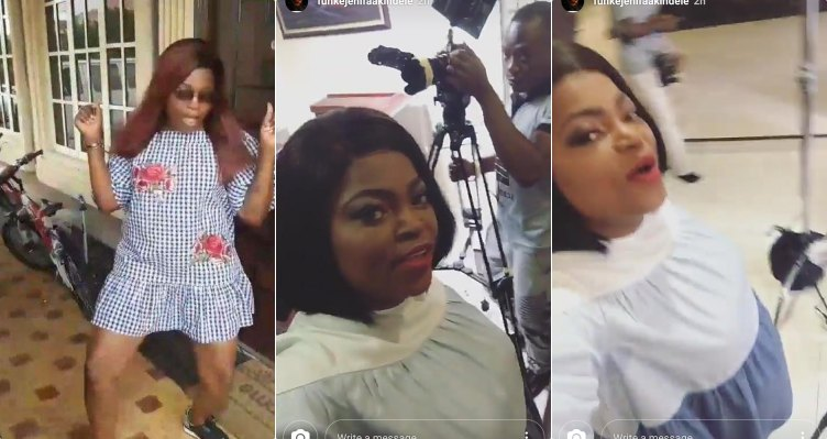 Funke Akindele flaunts growing baby bump in IG video (Photos)