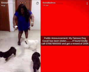 Eniola Badmus Offers 200,000 Naira For The Return Of Her Stolen Dog