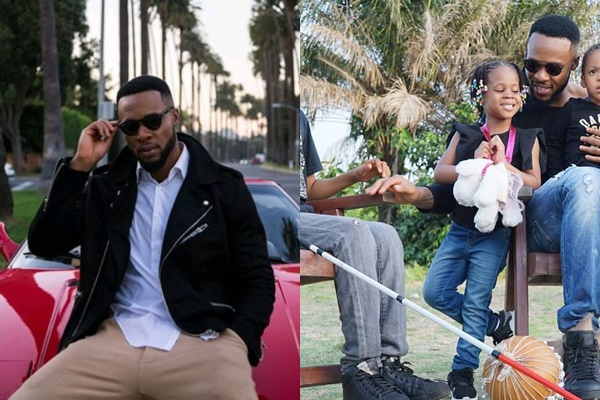 Flavour chills with his daughters and blind Liberian boy
