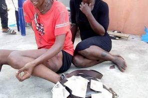 Two female thieves caught, beaten to pulp and almost set ablaze in Onitsha (photos)