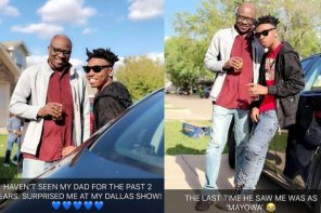 After two years, singer, Mayorkun's father surprises him at his show in Dallas